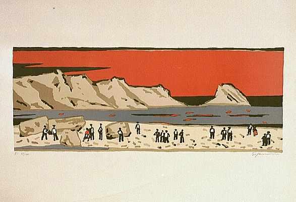 Menschen am Meer (rot), Lithografie von Peter Janssen