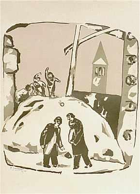 Winterlandschaft, Lithografie von Peter Janssen