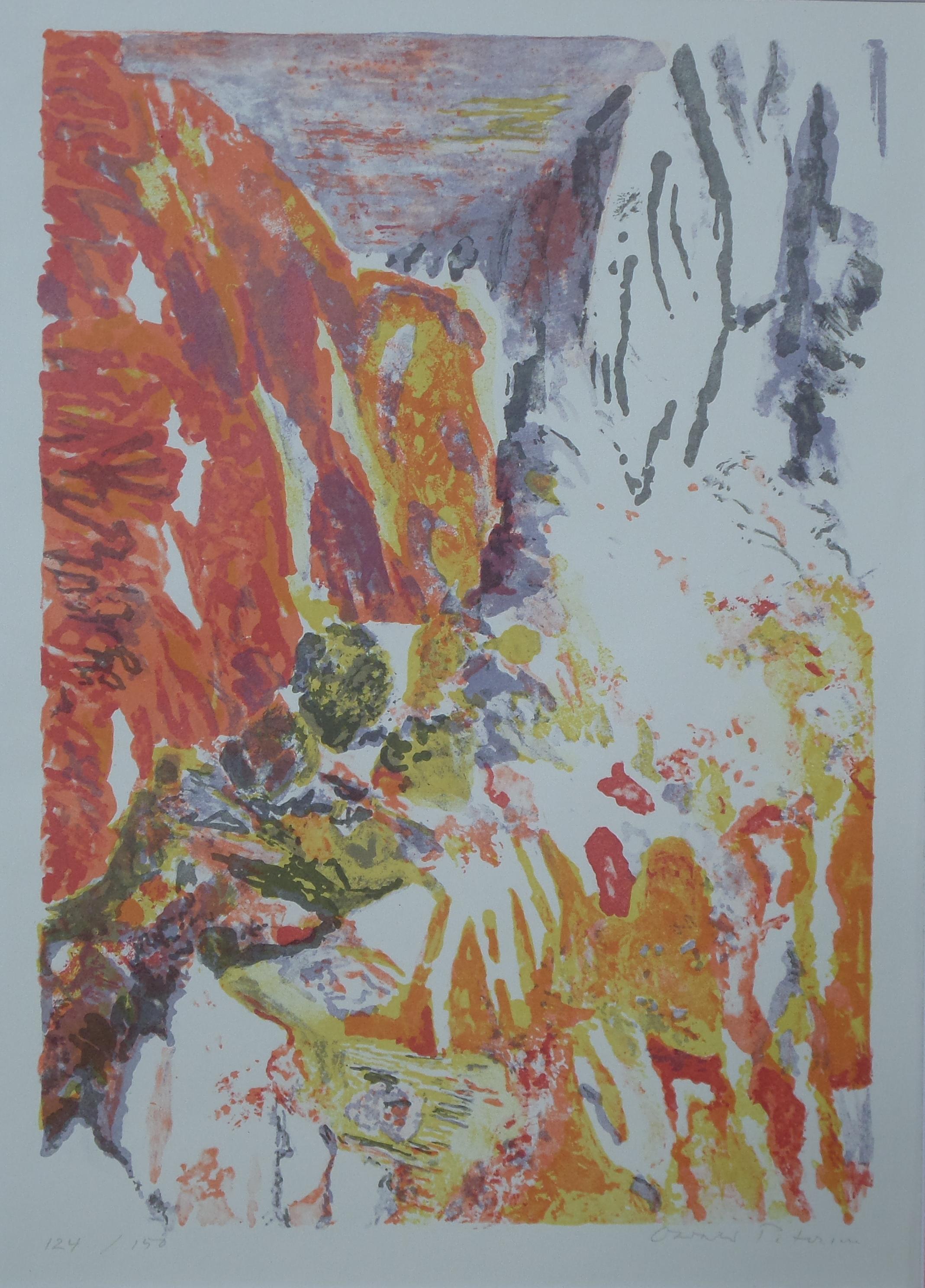 Bergwelt - Lithografie von Oswald Petersen, um 1965