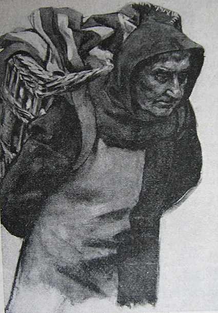 Ölstudie Mann mit Kiepe