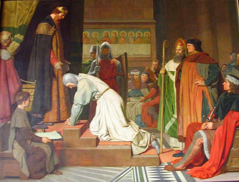 Der Kniefall Heinrich des Löwen vor Kaiser Friedrich Barbarossa, 1181 - klicken für vergrößerte Ansicht!
