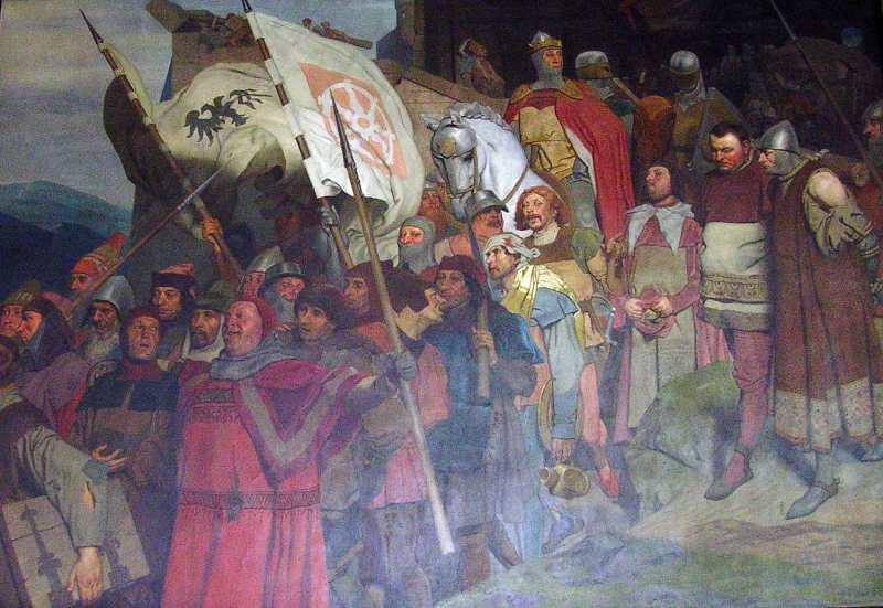 Rückkehr Kaiser Rudolfs von Habsburg und seiner Männer nach der Zerstörung von Raubritterburgen, 1290 - klicken für vergrößerte Ansicht!