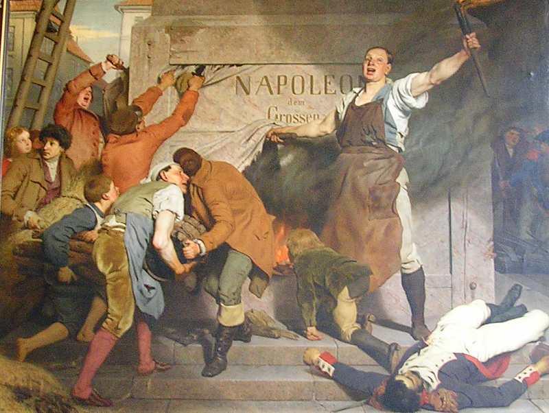 Die Zerstörung der Napoleonssäule, 1814 - klicken für vergrößerte Ansicht!