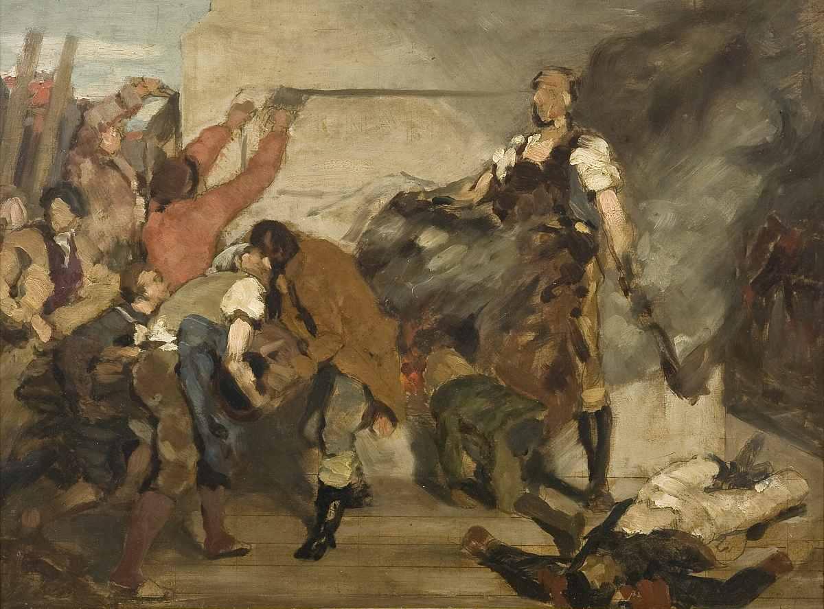 """Studie zu """"Die Zerstörung der Napoleonssäule"""", 1814 - klicken für vergrößerte Ansicht!"""