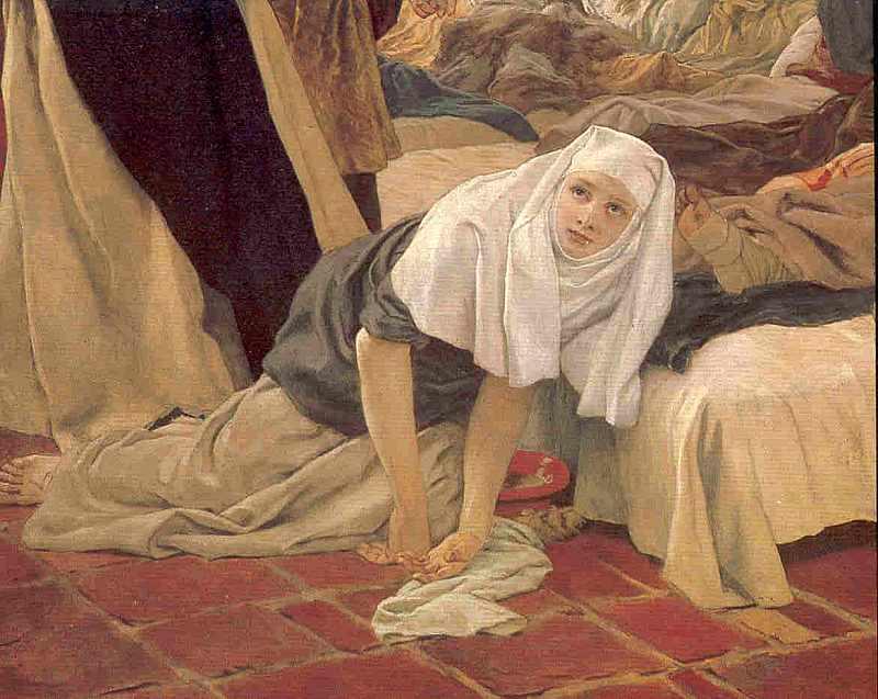 Die h. Elisabeth und ihr geistiger Zuchtmeister Konrad von Marburg. 1230, zur Vergrößerung anklicken!