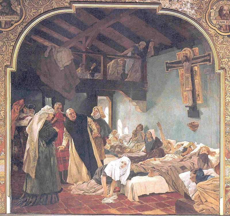 Die h. Elisabeth und ihr geistiger Zuchtmeister Konrad von Marburg. 1230, hier klicken für vergrößerte Ansicht!
