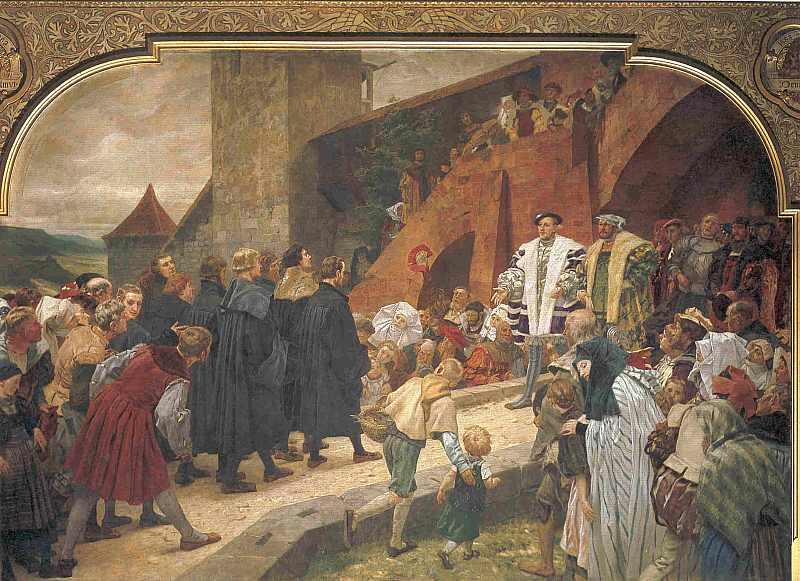 Die Reformatoren ziehen zum Religionsgespräch ein, empfangen von Philipp dem Großmütigen. 1529, hier klicken für vergrößerte Ansicht!