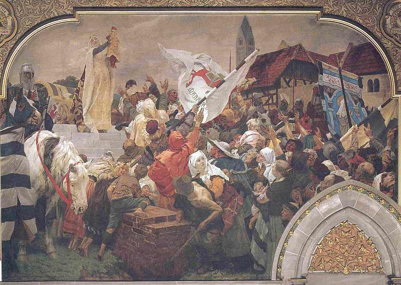 Sophie von Brabant läßt die Marburger Heinrich dem Kinde huldigen. 1248, hier klicken für vergrößerte Ansicht!