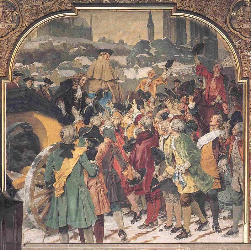 Professor Christian Wolf wird von Marburger Studenten eingeholt. 1723, hier klicken für vergrößerte Ansicht!