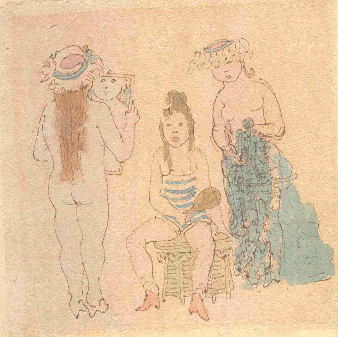 Drei Frauen, Aquarell von Robert Pudlich