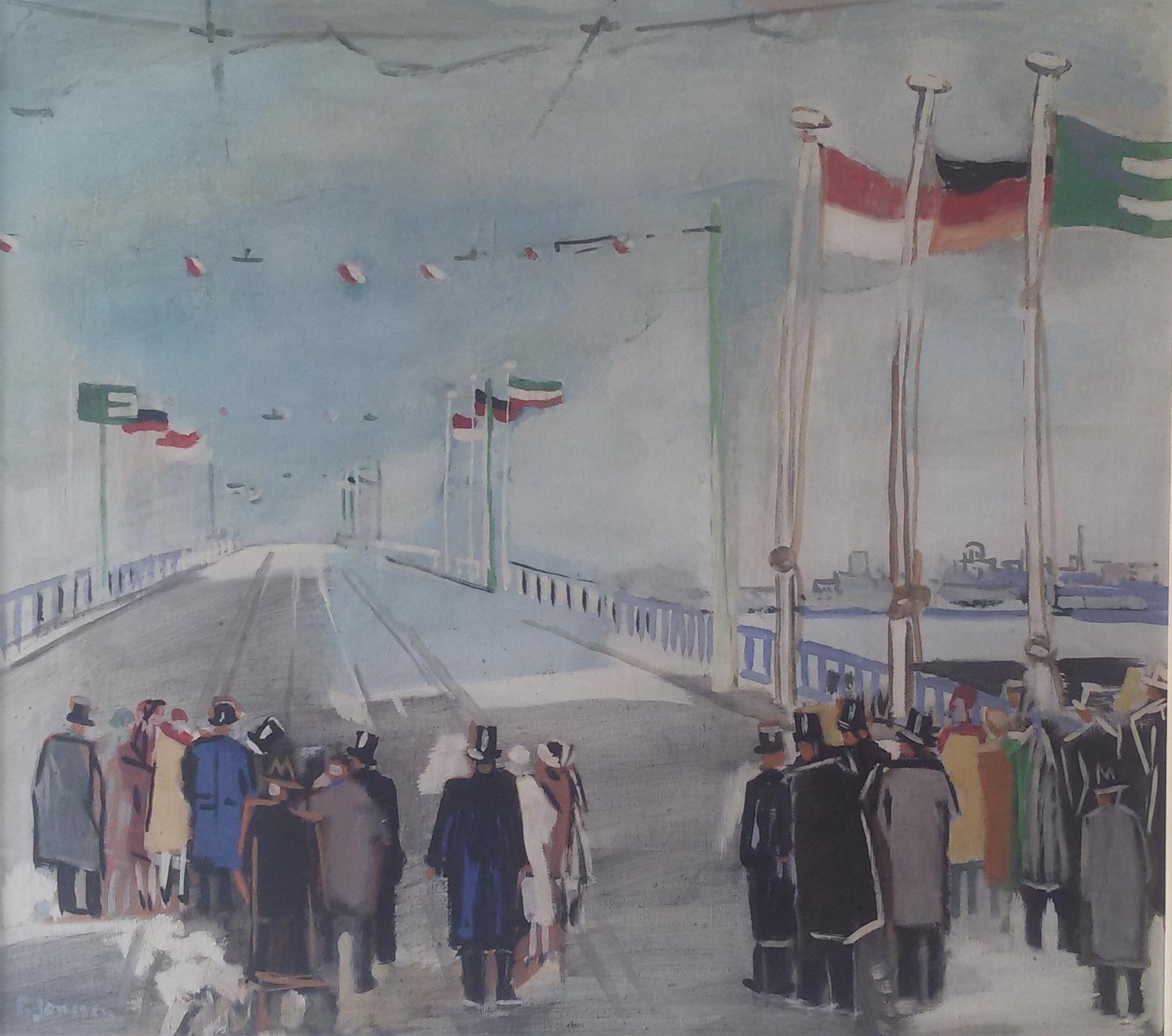 Einweoihung der Neusser Brücke, 1951,  Gemälde von Peter Janssen, für vergrößerte Ansicht hier klicken!