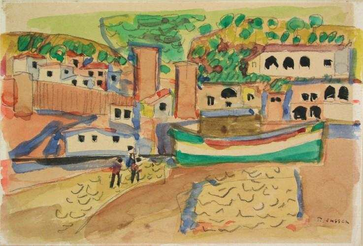 Tossa, Spanien, 1953, Aquarell von Peter Janssen. Hier klicken für vergrößerte Ansicht!