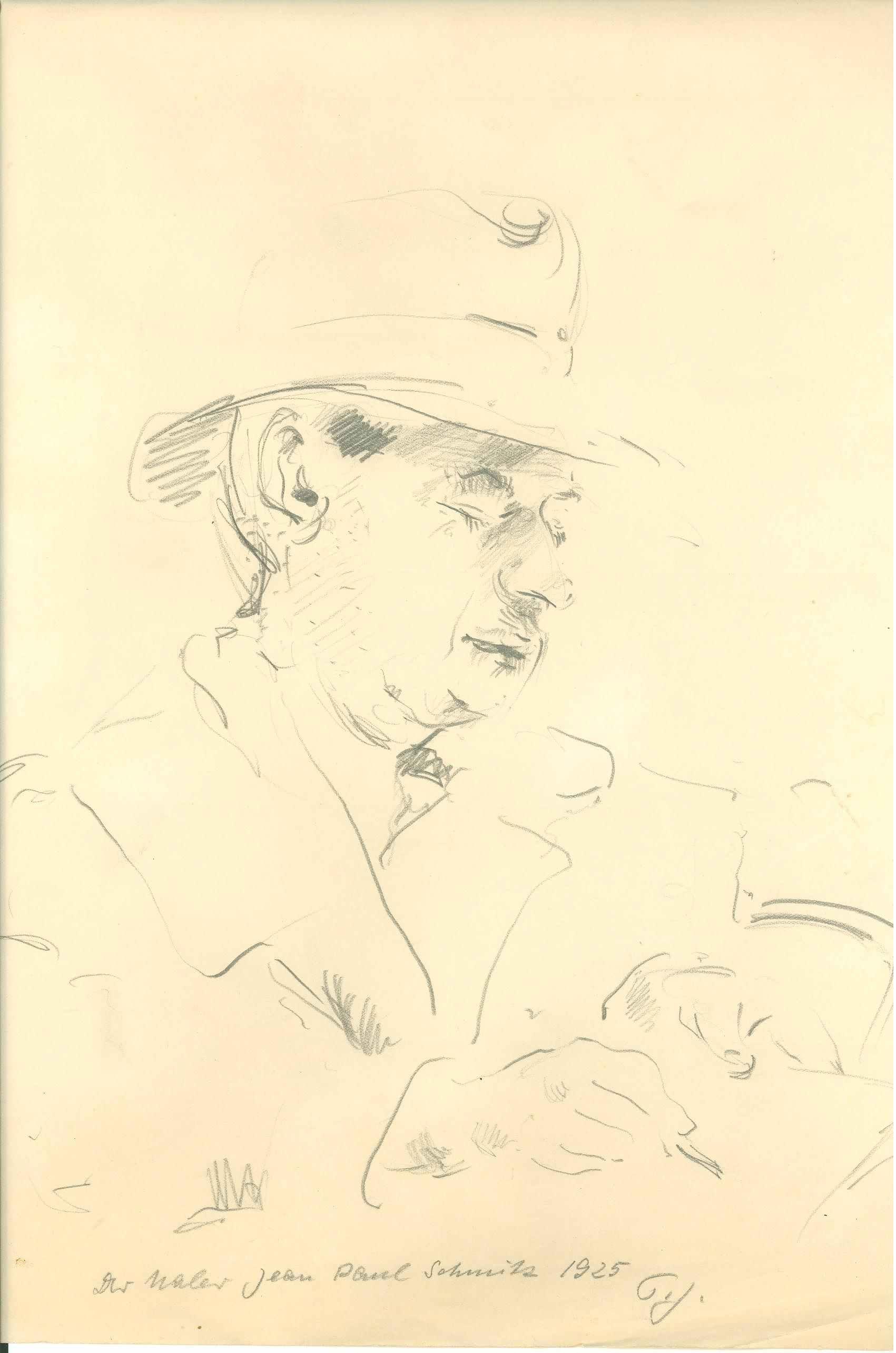 Der Maler Jean Paul Schmitz, 1925, Zeichnung von Peter Janssen.