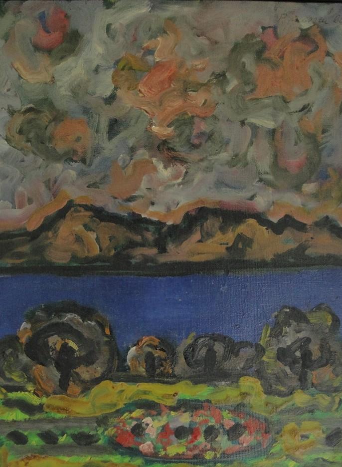 Landschaft 1963, Gemäldevon Peter Janssen. Anklicken für größere Ansicht / click to enlarge