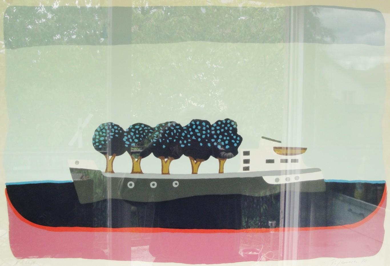 Schiff mit Bäumen, 1972, Lithografie von Peter Janssen. Anklicken für größere Ansicht / click to enlarge