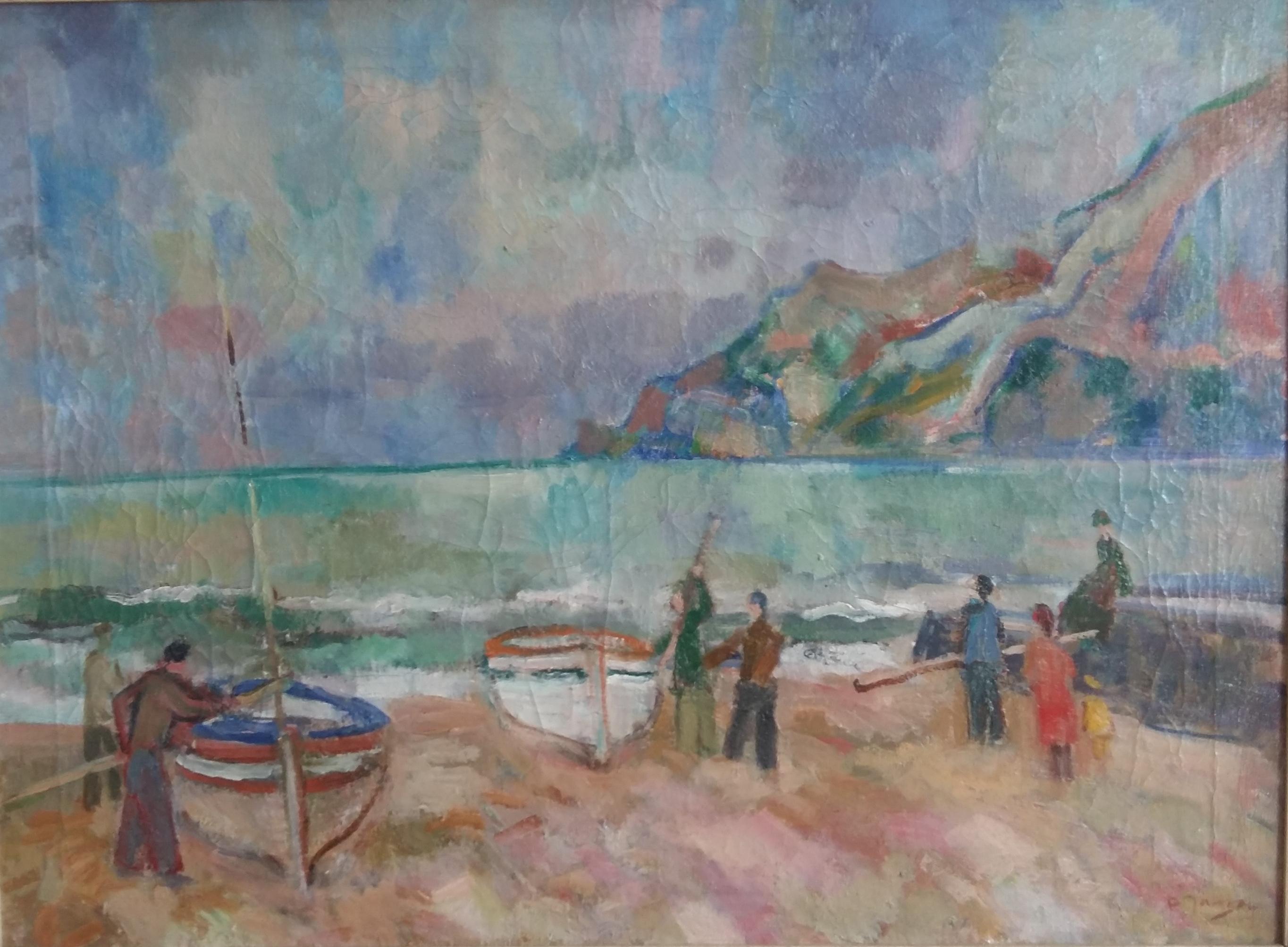 Mittelmeerszene, um 1930,  Gemälde von Peter Janssen, für vergrößerte Ansicht hier klicken!