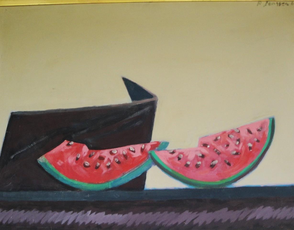 Stilleben Melonen, 1966, Gemäldevon Peter Janssen. Anklicken für größere Ansicht / click to enlarge