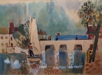 Brücke mit Boot, um 1950,  Aquarell von Peter Janssen, für vergrößerte Ansicht hier klicken!