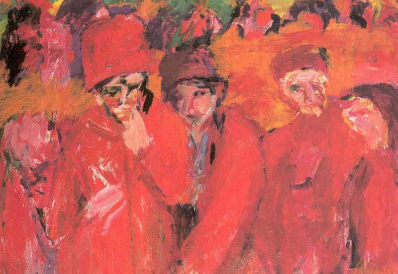 Hans Stein - Straßenszene rot 1961/62 Öl auf Hartfaser 98,5 x 132 cm, hier klicken für weitere Werke von Hans Stein!